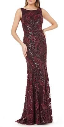 Carmen Marc Valvo Sequin Floral Gown