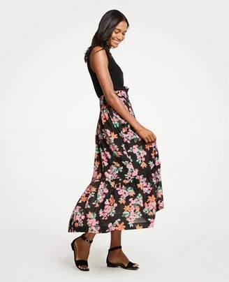 Ann Taylor Petite Floral Garden Belted Maxi Skirt
