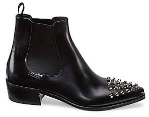 Prada Women's Polished Leather Studded Chelsea Boots