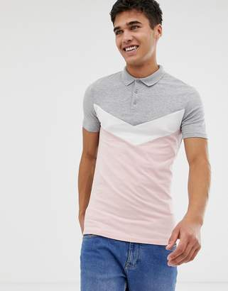 Asos DESIGN muscle fit polo shirt with chevron cut and sew panel in gray