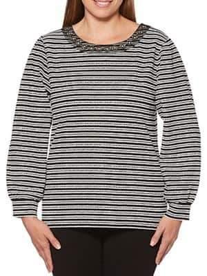 Rafaella Petite Jacquard Striped Top