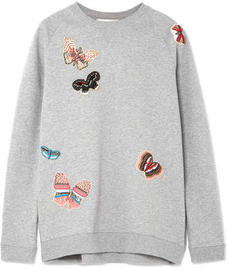 Valentino Appliquéd Cotton-jersey Sweatshirt - Gray