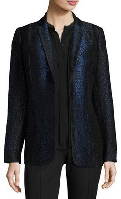 Elie Tahari Leopard-Print One-Button Blazer, Black/Blue $548 thestylecure.com