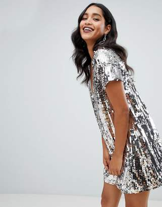 TFNC sequin shift dress in multi silver