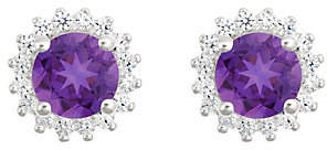QVC 14K White Gold Round Gemstone Halo Stud Earring s