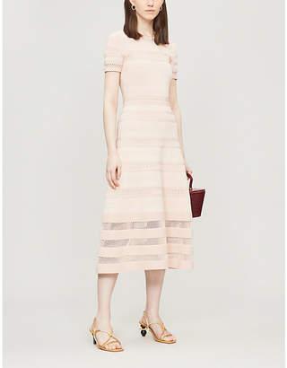 7f1dde7f4af Sandro Mesh-panelled stretch-knit midi dress