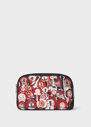Paul Smith & Manchester United - 'Vintage Rosette' Print Canvas Wash Bag