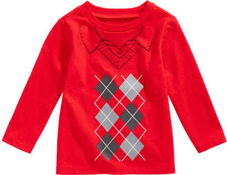 First Impressions Baby Boys Long-Sleeve Argyle Cotton T-Shirt