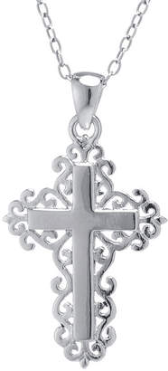 SILVER TREASURES Sterling Silver Filigree Cross Pendant Necklace