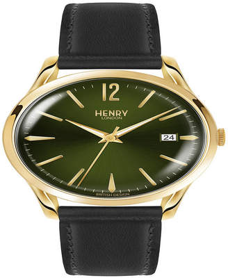 Henry London Chiswick Unisex 39mm Black Leather Strap Watch with Gold Stainless Steel Casing