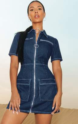 PrettyLittleThing Mid Wash Zip Detail Denim Bodycon Dress 57cfb705b