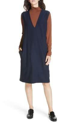 Eileen Fisher Deep V-Neck Knee Length Shift Dress