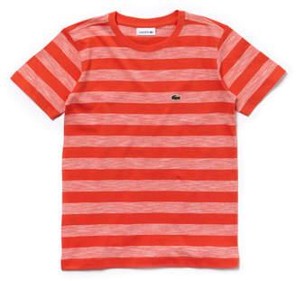 Lacoste Boys' Crew Neck Striped Cotton T-Shirt