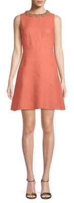 Valentino Embellished Linen Mini Dress