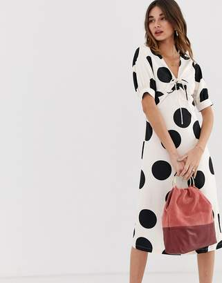 Lost Ink a line midi dress with tie front in spot print