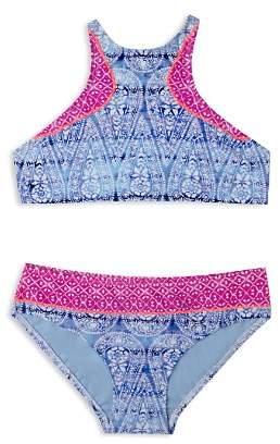 Gossip Girl Girls' Printed High Neck 2-Piece Swimsuit - Big Kid