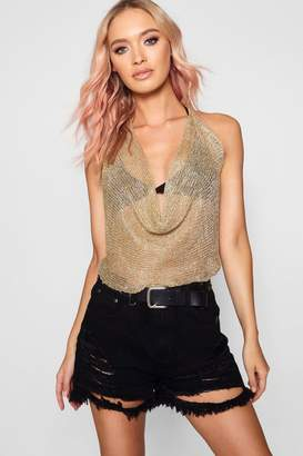 boohoo Leah Metallic Knitted Halterneck Top