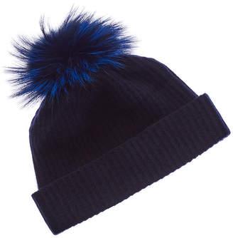 Portolano Cashmere Hat With Fox Pom