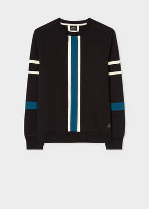 Paul Smith Men's Black And Teal Panelled Cotton Sweatshirt