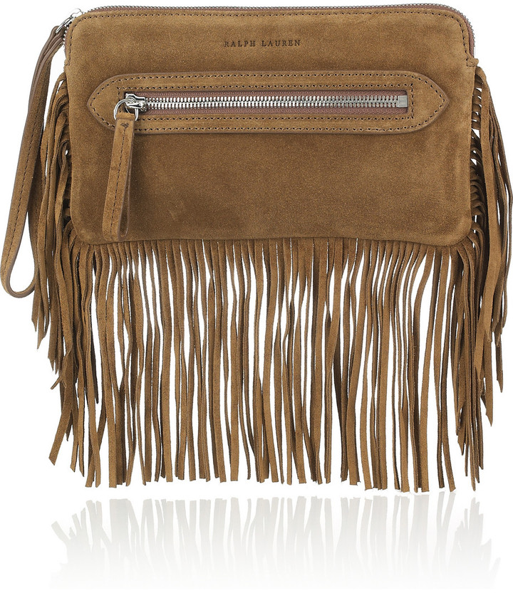 Ralph Lauren Collection Fringed suede clutch