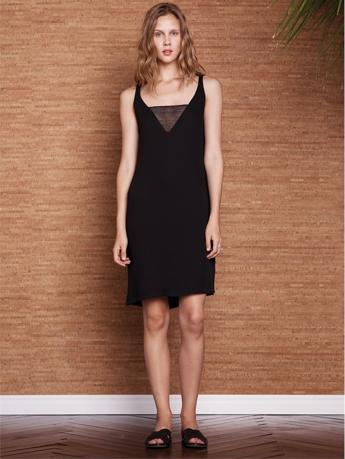 L'Agence Sleeveless Dress With Mesh Inset