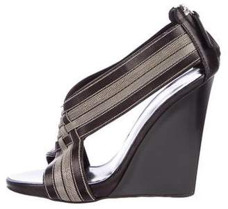 Giuseppe Zanotti Chain-Trimmed Leather Wedges