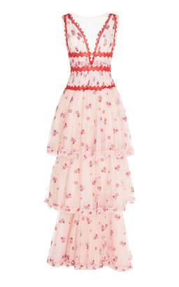 Costarellos V-Neck Tiered Long Dress