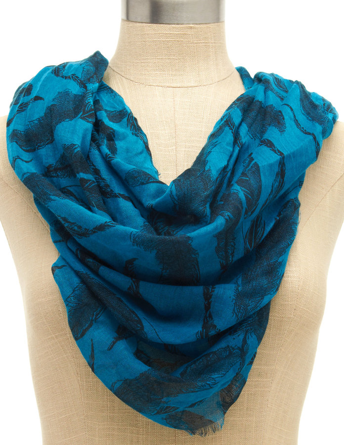 Feather-Print Blue Scarf