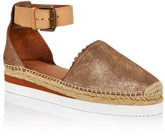 See by Chloe Women's Leather Platform Espadrille Ankle Strap Flats - 100% Exclusive