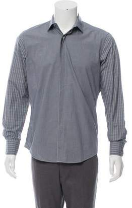 Lanvin Dual-Patterned Button-Up Shirt