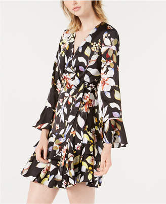 Bar III Printed Faux-Wrap Ruffled Dress