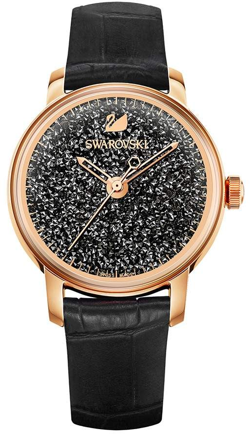 Crystalline Hours Watch, Leather strap, Black, Rose gold tone