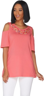 Belle By Kim Gravel TripleLuxe Knit Embroidered Top w/ Cut Outs