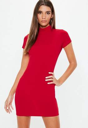 Missguided Red Crepe Cap Sleeve High Neck Mini Dress
