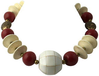 One Kings Lane Vintage Tribal Style Red - Cream & Brass Necklace - Owl's Roost Antiques
