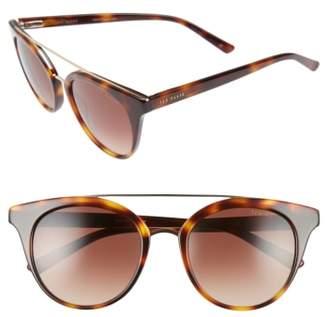 Ted Baker 51mm Gradient Lens Round Retro Sunglasses