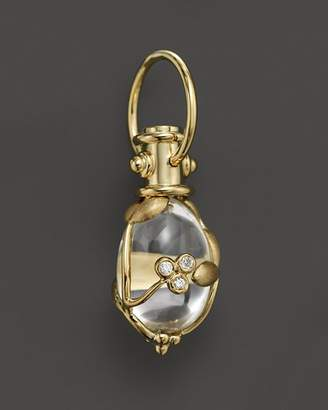 Temple St. Clair 18K Yellow Gold Vine Amulet with Oval Rock Crystal and Diamonds
