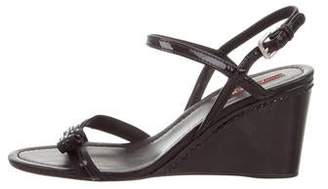 Prada Sport Patent Leather Ankle-Strap Wedges