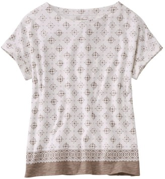 L.L. Bean L.L.Bean Women's Cotton/Tencel Slub Tee, Short-Sleeve Boatneck Stamp Print