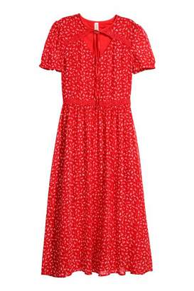 H&M Puff-sleeved Dress - Red/floral - Women