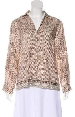 Gerard Darel Silk Long Sleeve Button-Up Top