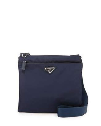 Prada Vela Small Nylon Crossbody Bag, Blue (Baltico) $590 thestylecure.com