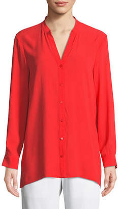Eileen Fisher Silk Georgette Crepe Button-Front Top