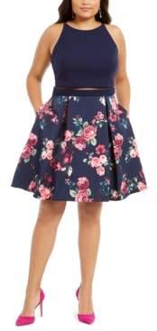 B. Darlin Trendy Plus Size Illusion Floral-Print Fit & Flare Dress