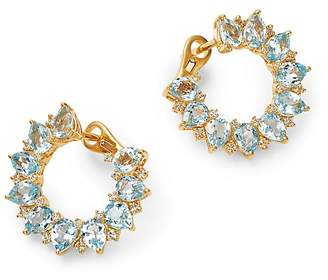 Kiki McDonough 18K Yellow Gold Juno Blue Topaz & Diamond Sunflower Earrings
