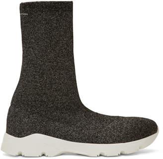 Maison Margiela Gunmetal and Black Lurex Sneaker Boots