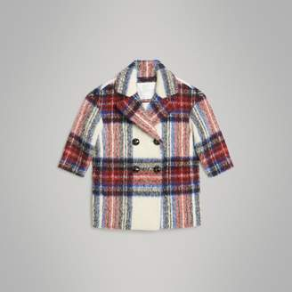 Burberry Tartan Wool Alpaca Blend Tailored Coat , Size: 6Y, White