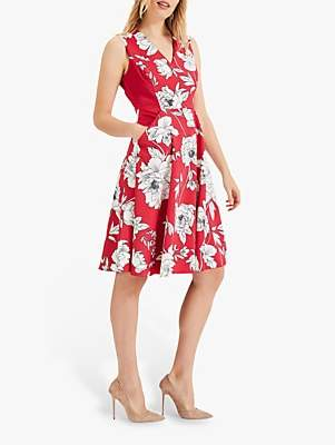 Phase Eight Eve Floral Dress, Raspberry