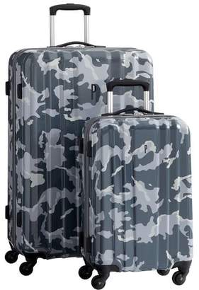 Pottery Barn Teen Channeled Hard-Sided Gray Camo Luggage Bundle, Set of 2