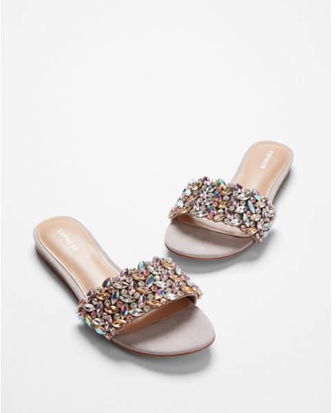 Express Jeweled Slide Sandals